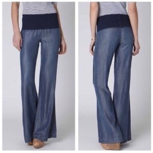 Anthro Elevenses Fold Over Tencel Jeans Size XS